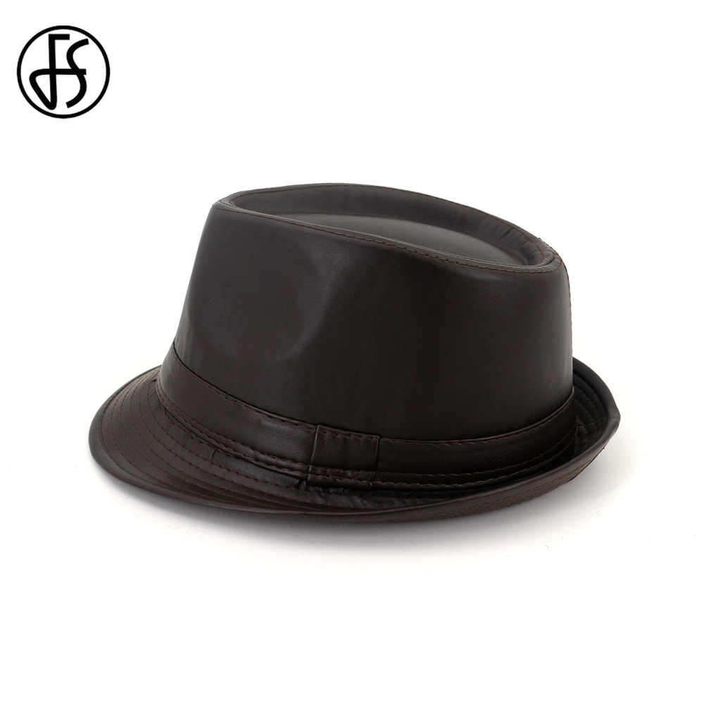 Men Stylish Faux Leather Panama Trilby Cap Hat Solid Color Jazz Fedora Hats