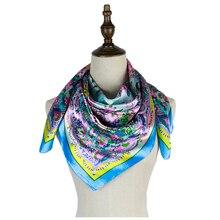 newest polyester scarf square women hijabs 90cm paisley spring bufanda shawls femme mujer silk vintage satin bandana