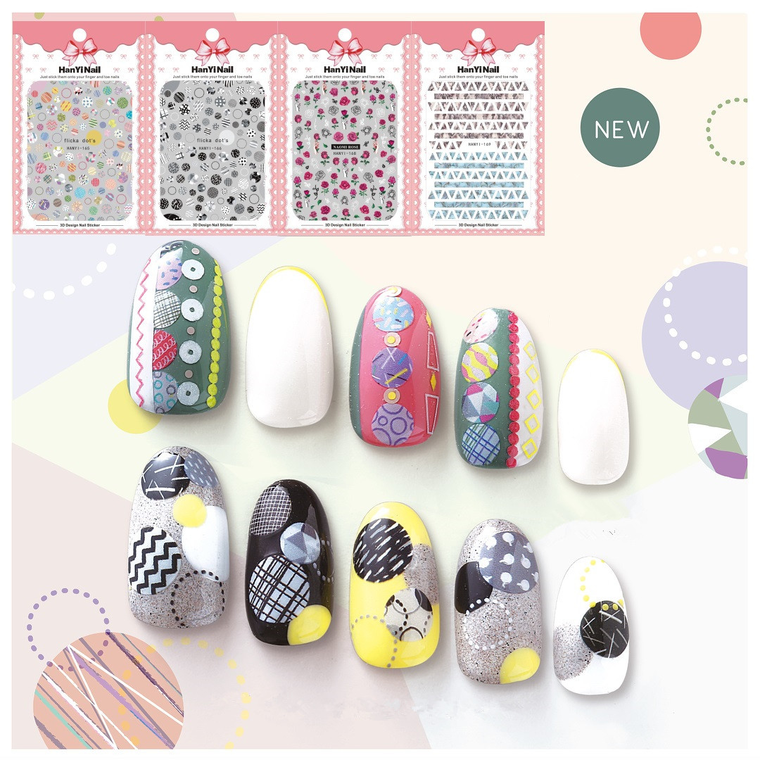 Nail Sticker Rose Trend Star Stylist Art Polka Dot Nail Decals HANYI165-170