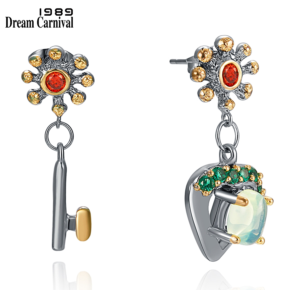 DreamCarnival1989 Zarte Feminine Ohrringe für Frauen Hängen Charme Schlüssel-Open-Herz Pfau Blau Zirkon Baumeln Schmuck WE4029 + 31