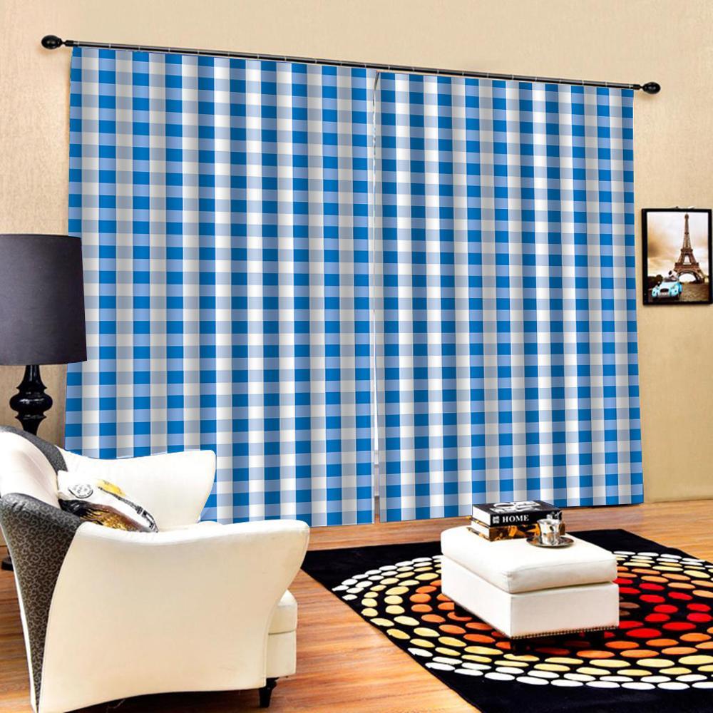 Blue curtains High quality custom 3d curtain fabric 3D Curtain Luxury Blackout Window Curtain Living Room