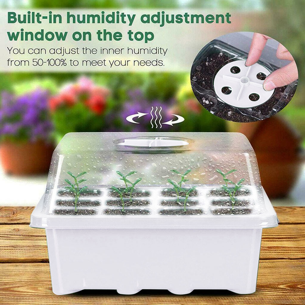 12 Hole Seedling Trays Seed Starter Starter Plant Flower Grow Box Propagation For Gardening Grow Starting Germination Box #20|Nursery Trays & Lids|   - AliExpress