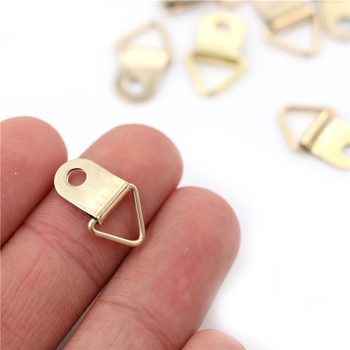 100 sztuk partia d-ring wiszące obraz obraz olejny lustro rama haki wieszaki złoty trójkąt tanie i dobre opinie Maszyny do obróbki drewna NONE CN (pochodzenie) Obraz wieszaki Mini Triangle D-Ring Picture Hook Hanger
