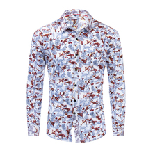 Mens Shirts Spring, Summer and Autumn New Cotton Long-sleeved Shirt Fashion Color Matching Printed