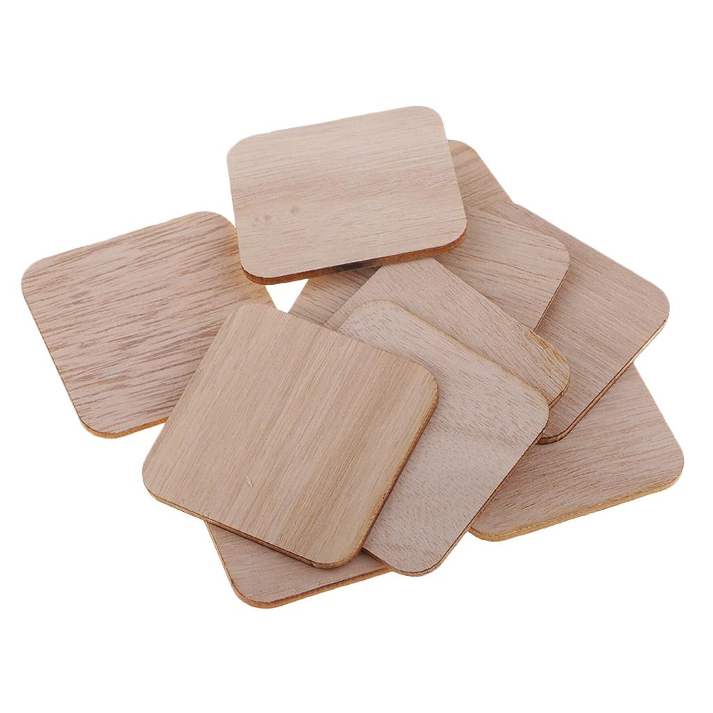 Recortes de madera de formas cuadradas, manualidades, rebanadas en blanco, fabricación de tarjetas, 100 Uds.