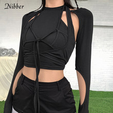 Nibber Gothic hollow tshirt 2 pezzi crop top summer black Punk bandage nappa top high streetwear party top cotton tees female