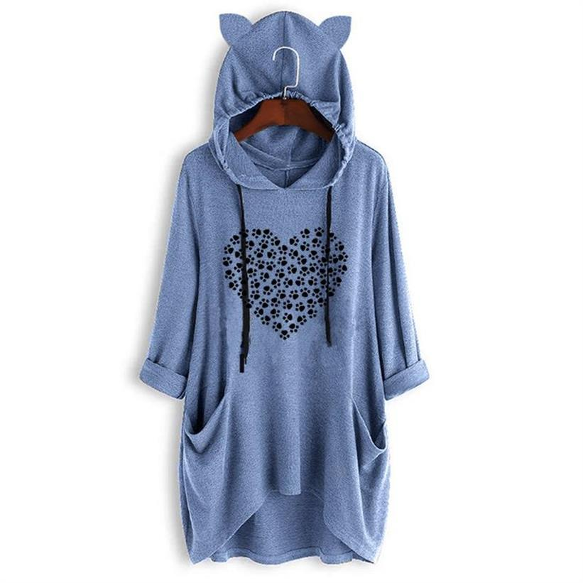 Fashion Cat Paw Letters Print T Shirt For Women Mid Sleeve Hooded T Shirt Tshirt Tops T Shirt Streetwear Tumblr Graphic Tees in T Shirts from Women 39 s Clothing
