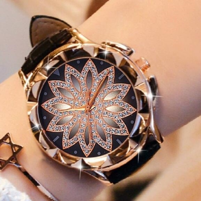 Rhinestone Watches Ladies Watch Leather Big Dial Bracelet Watch Women Wristwatch Crystal Relogio Feminino 2019 Reloj Mujer Clock