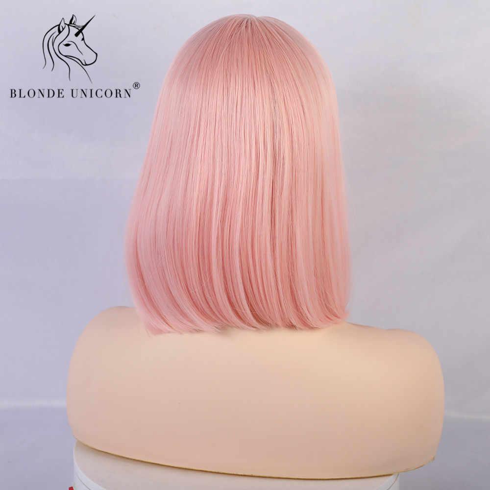 Bionda Unicorno Sintetico Lisci Corti Bob Parrucche con la Frangetta Oro Bianco Viola Rosa Verde Marrone Parrucca Cosplay per Le Donne Donna