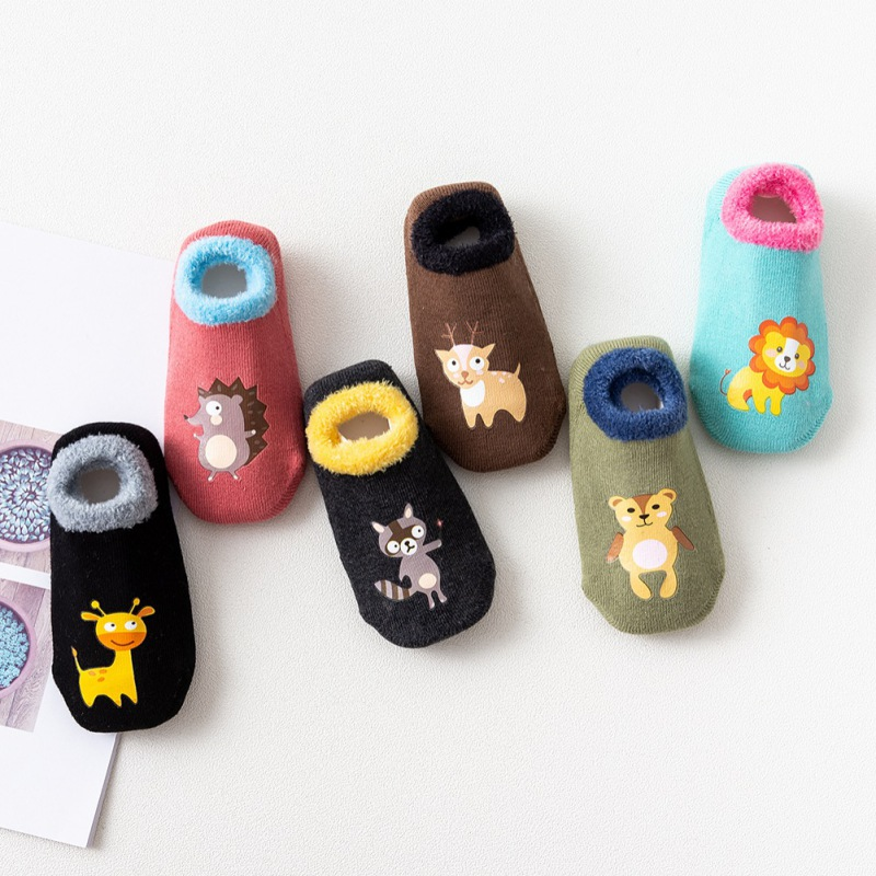 Baby Socks Fashion Casual Warm Children\'s Cute Animal Cartoon Non-Slip Cotton Floor Socks Kids Slippers  1-12Y