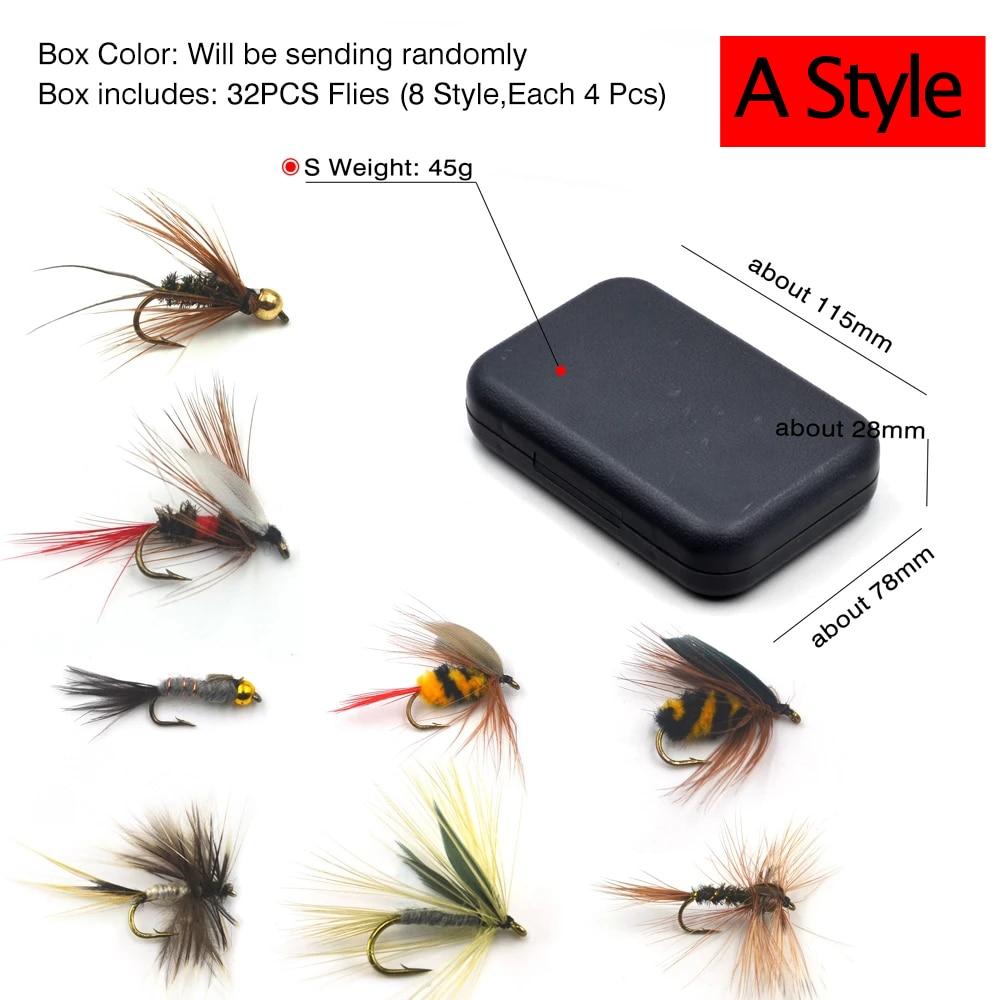 32 Pcs / Box Trout Nymph Fly Fishing Dry/Wet Flies 2
