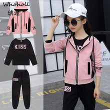 Whoholl Autumn 3pcs Letter Print Clothing Zipper Set Kids Clothes Girls Hooded Jacket +T Shirt +Sports Pants Casual Sprot Suits
