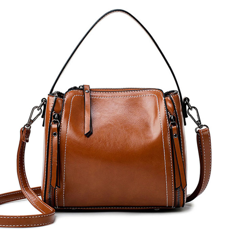 Women's Handbag The New Fashion Women's Bag Retro Wild Crossbody Bags Oil Wax Zipper Messenger Shoulder Bags