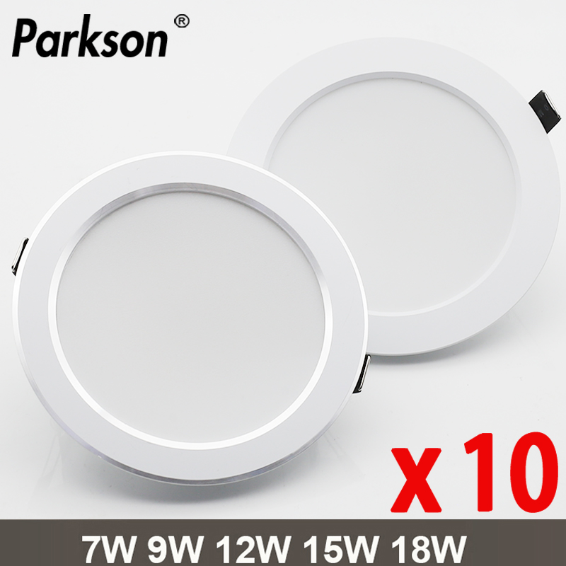 10PCS Waterproof LED Downligh 7W 9W 12W 15W 18W Recessed Round  LED Ceiling Lamp AC220V-240V LED Spot Lighting Indoor LED Lamp