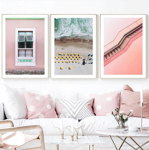 Modern Nordic Style Poster Stair Window Seascape Landscape Painting Printing Wall Fashion Canvas Art Modern Home Decoration