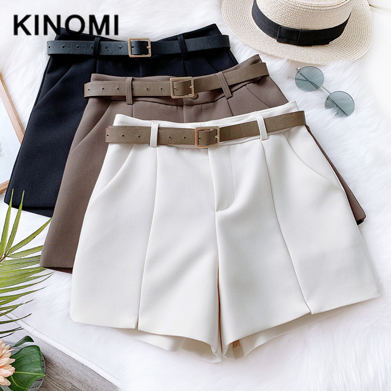 KINOMI New Spring Summer Women Fashion Wide Leg Hots Short Pant With Belt Casual High Waist Korean Style Trousers Pocket Female