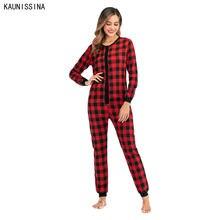 Женская пижама в клетку Рождественская одежда для сна теплый