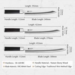 Image 2 - XINZUO 240/270/300 مللي متر السوشي سكين مع غطاء Scabbard X9Cr18MoV الصلب المطبخ السكاكين الساطور الساشيمي سكين خشب الأبنوس مقبض
