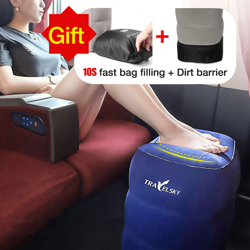 Portable Travel Inflatable Foot Pad For Car Airplane Train Seat Baby Kids Travel Sleep Cushion Pad Almohadilla de pie inflable image