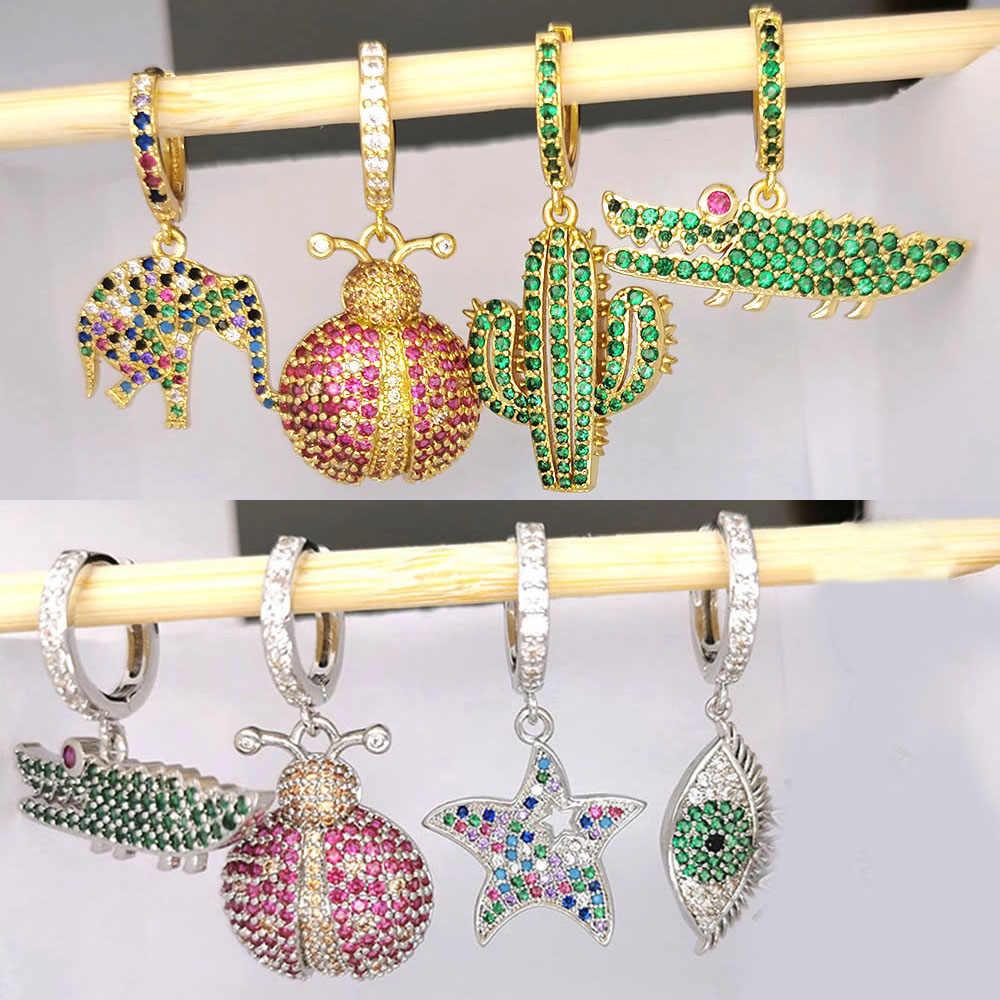 1 Buah Kecil Anting Anting-Anting Wanita CZ Rainbow Perhiasan Emas Perak Col Nanas Bintang Kaktus Mata Jahat Gajah Lingkaran Anting-Anting india