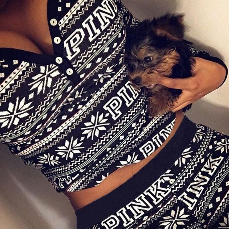 Woman Christmas Set 2 Piece Sets Long Sleeve Crop Top+long Pants  Casual Holiday Two Women's Sets