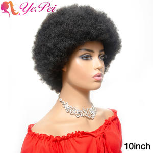 Afro Wig Kinky-Curly-Wig Human-Hair Natural-Color Brazilian 150%Density Short for Woman