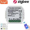 Tuya Zigbee Беспроводной интеллектуальный коммутационный модуль No/с нейтральным 220V-240V 2 Way Беспроводной выключатель света совместим с Alexa Google Home