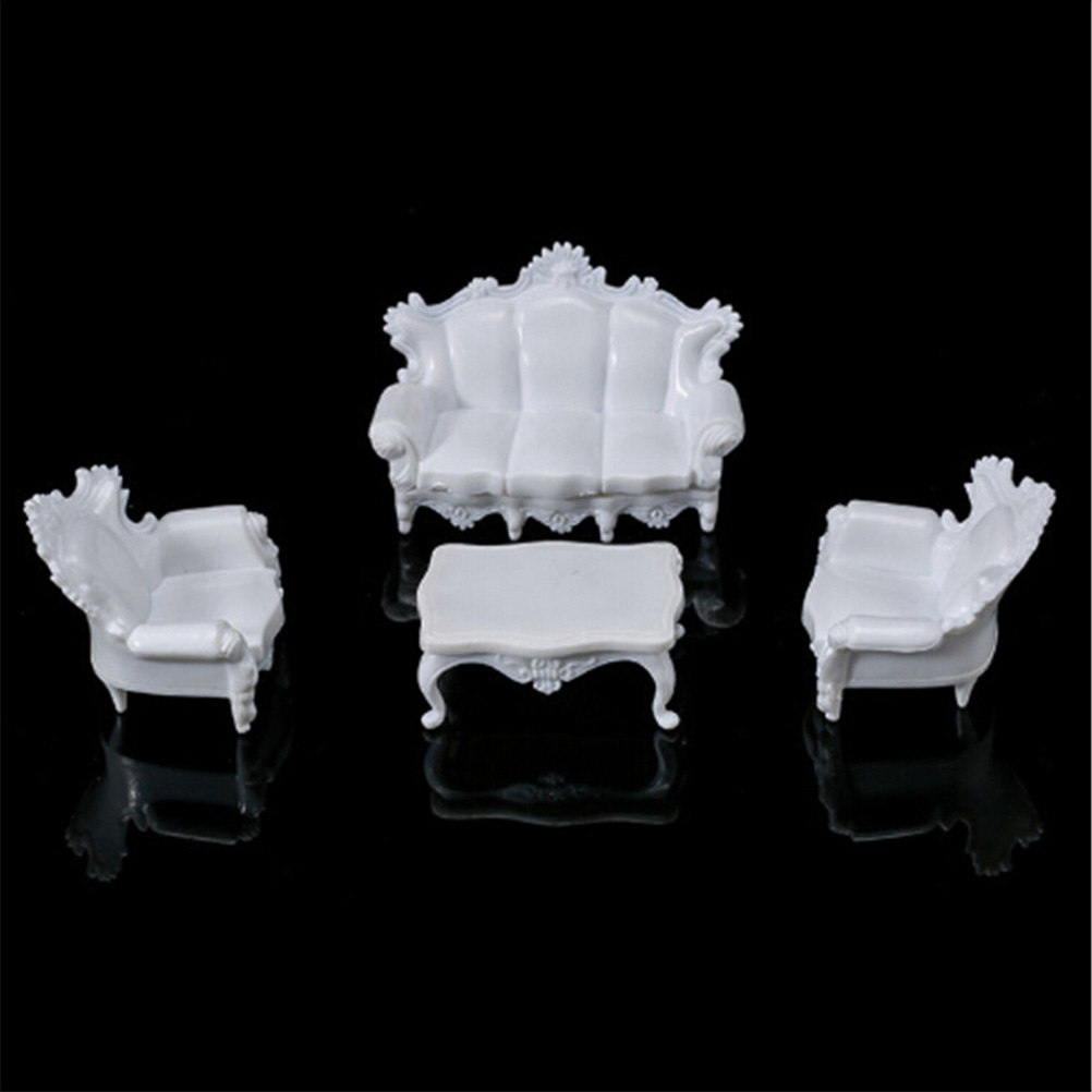 4pcs White DIY 1/25 Dollhouse Miniature Living Room Antique Sofa Set Tea Table Settee Model For Kids Gift Classic Toy