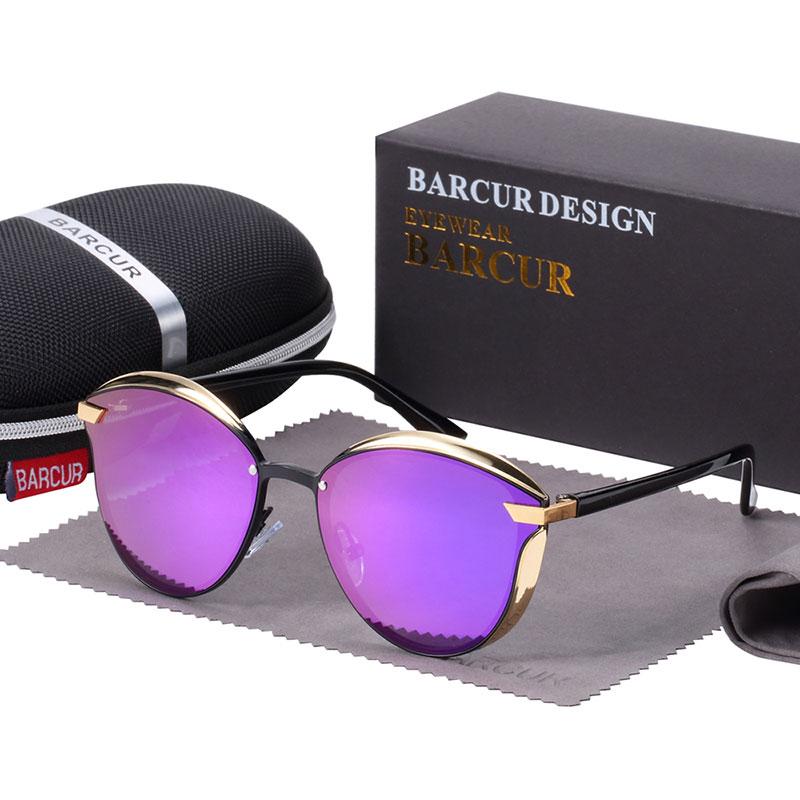 BARCUR Luxury Polarized Sunglasses Women Round Sun glassess Ladies lunette de soleil femme 8