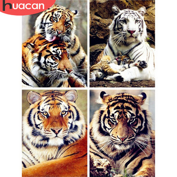 HUACAN 5D Diamond Painting Animal Tiger Full Square Rhinestone Picture Embroidery Sale Mosaic Home Decor Gift - discount item  35% OFF Arts,Crafts & Sewing