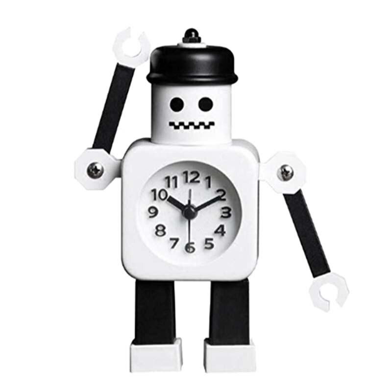 Non-Ticking Robot Alarm Clock, Kids Alarm Clock , Desk Clock,Arm Can Be Swing,Gift For Kids