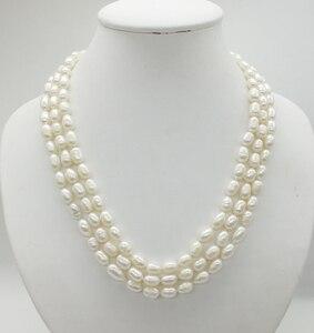 Image 4 - Классическое ожерелье! 3 ряда 7 8 мм жемчужное ожерелье из натурального зернистого белого риса, 18 22 дюйма
