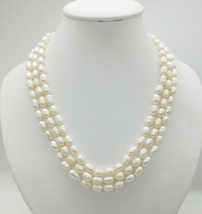 Image 4 - Classic necklace! 3 rows of 7 8MM natural white rice grain pearl pearl necklace, 18 22 inches