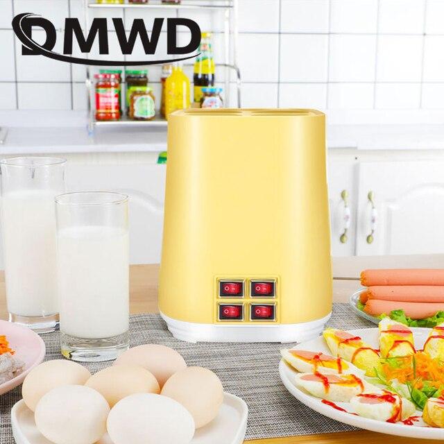 DMWD 4 Egg Sausage Cooker Frying Breakfast Machine Four Tube DIY Automatic Omelette Master Boiler Eggs Roll Maker Roller Cup EU
