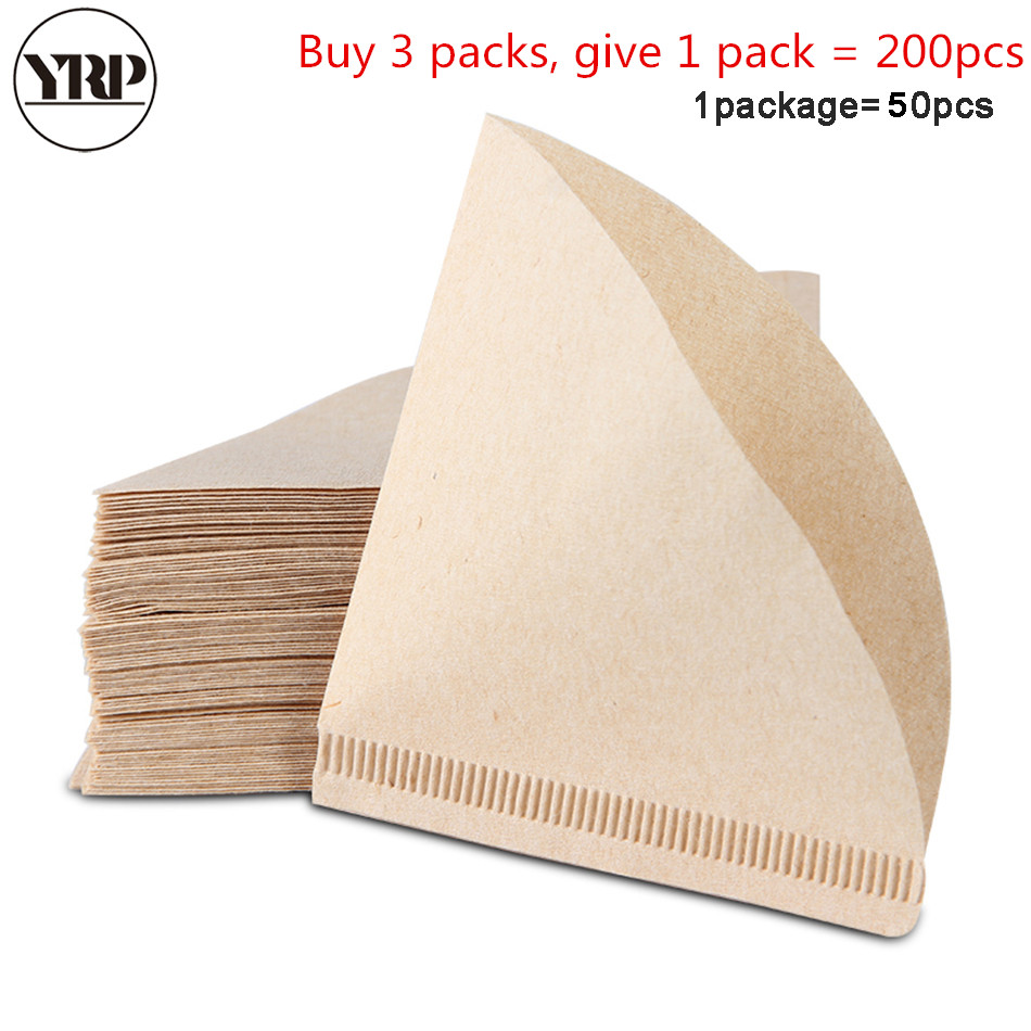 Us 307 27 Offyrp50pcs V60 Coffee Filter Papers Unbleached Original Wooden Drip Paper Cone Shape Espresso Coffee Brew Kitchen Accessories Tool In