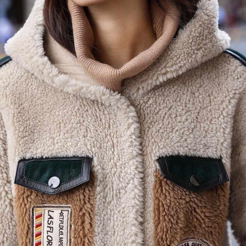 Schapen Shearling Real Winter Bontjas Vrouwen Kleding 2020 Koreaanse Lange Jas Windjack Manteau Femme F9270 YY2024
