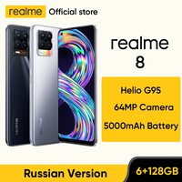 realme 8 Russian Version Smartphone 64MP Quad Camera Helio G95 6.44 1