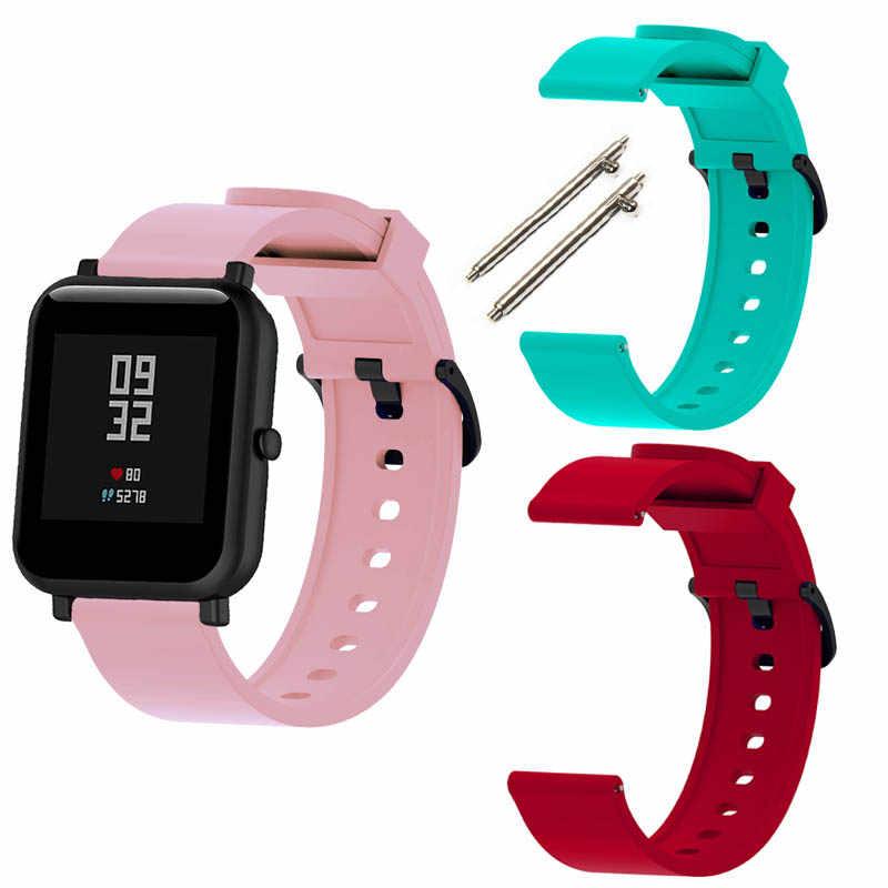 ل شاومي Amazfit بيب الشباب حزام ساعة اليد النايلون سوار سيليكون حزام الساعات 20 مللي متر عرض الفرقة 2 قطعة