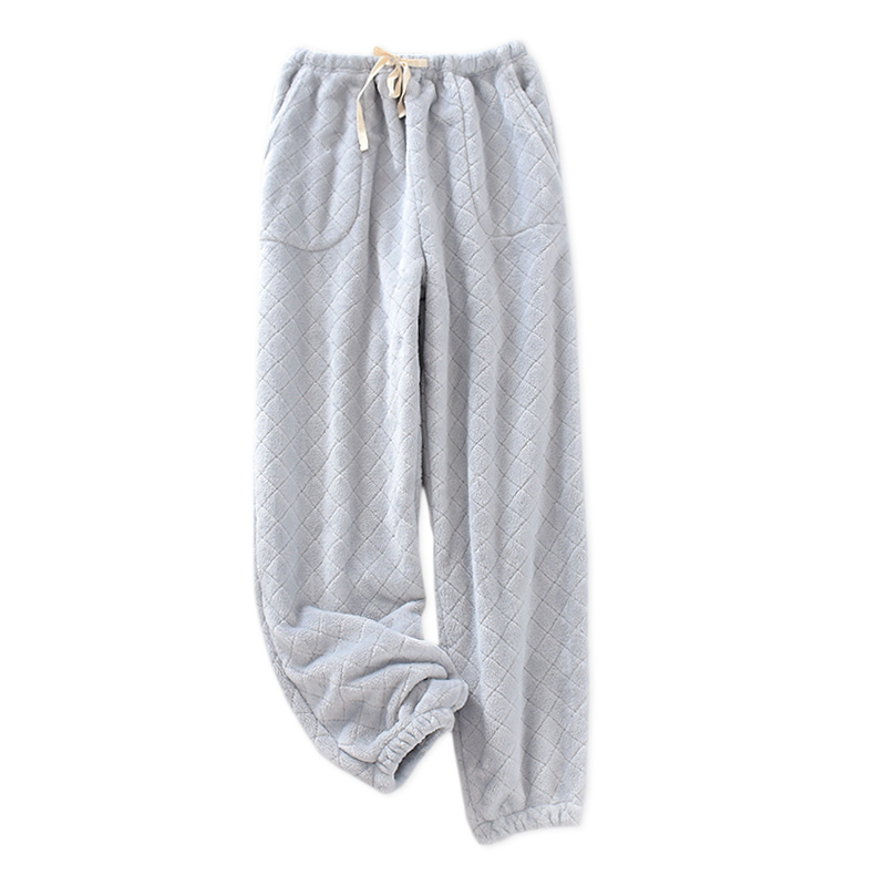Quality Winter Couples Sleep Bottoms Men And Women Thicken Flannel Pure Color Simple Men Sleepwear Pants Women Pyjamas Trousers