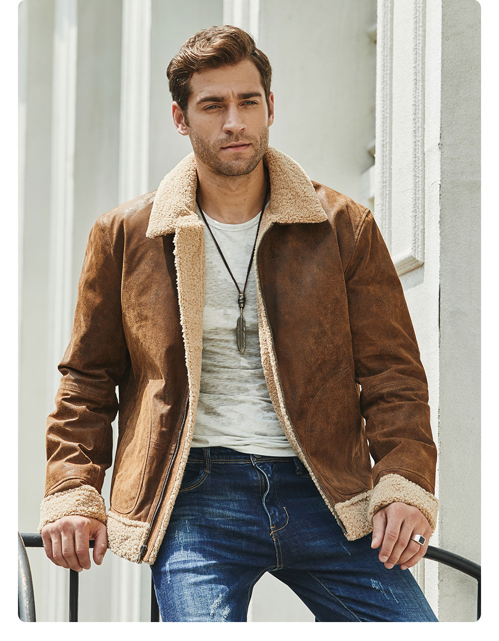 H15b5755be91545f7a0ce21c150d1f935X New Men's Real Leather Jacket Faux Fur Collar Genuine Leather Jacket