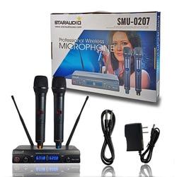 STARAUDIO Professional 2 Channel UHF Handheld Wireless Microphone System 2CH Church Stage Karaoke Wireless Microphone SMU-0207A