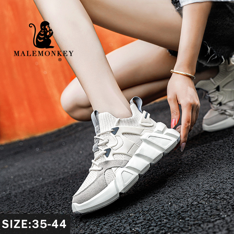 Sport-Shoes Chunky Sneakers Spring Comfort White Breathable Running Plus-Size Casual