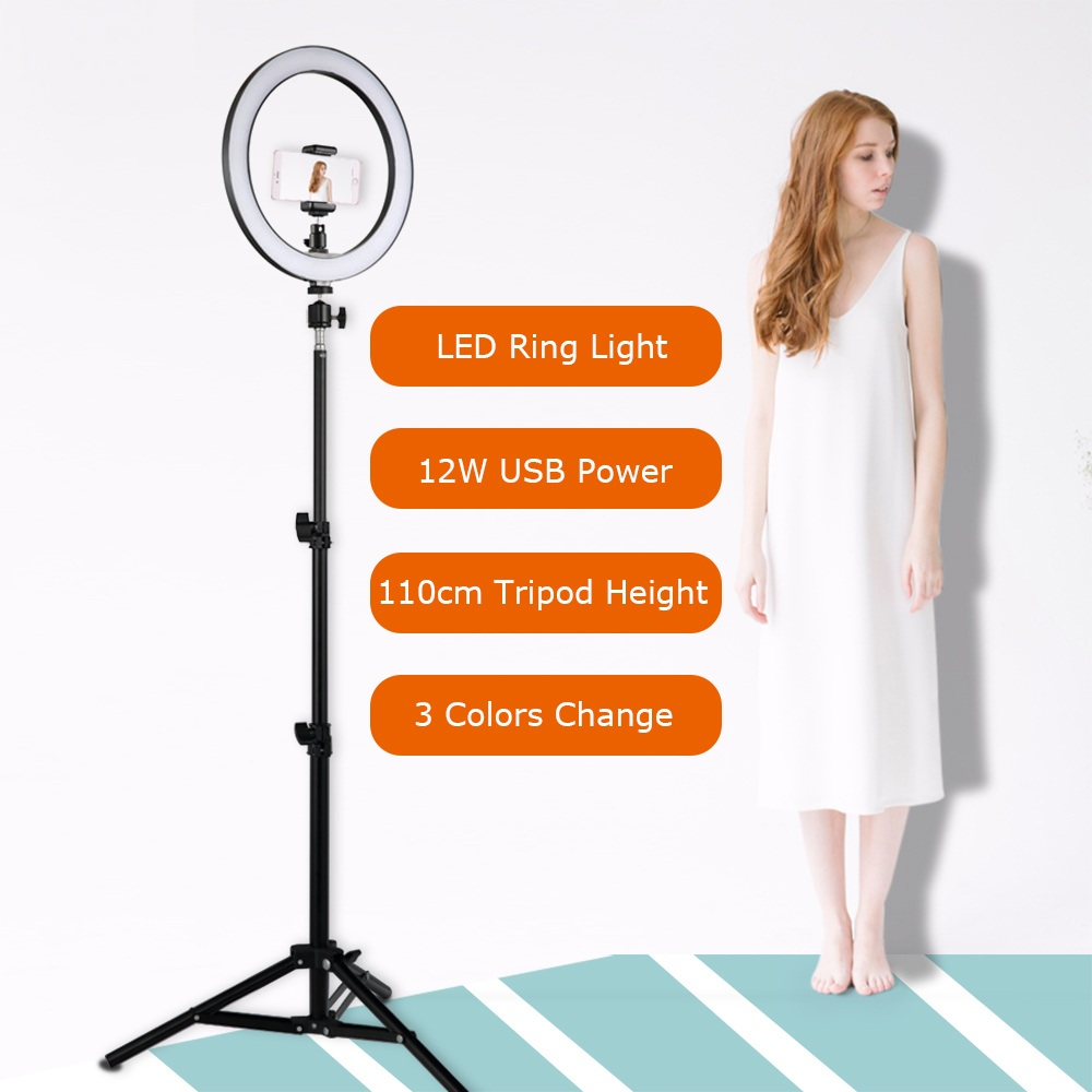 LED Ring Light Selfie 12W 5500K Photo Studio Photography Lights Photo Fill Ring Lamp With Tripod For Iphone Yutube Video Makeup