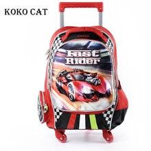 Cartoon 3D Kids Children in School Trolley Bag Racing Car Backpack with wheels Boys Bookbag Boys Student Bag