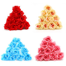 10 pieces batch 8cm mini artificial flowers silk rose head for wedding decoration party fake scrapbooking floral wreath home a(China)