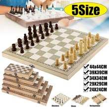 Newdesign 3 em 1 de madeira xadrez gamão 4size44x44cm damas jogos de viagem conjunto xadrez tabuleiro draughts entretenimento christmasgift