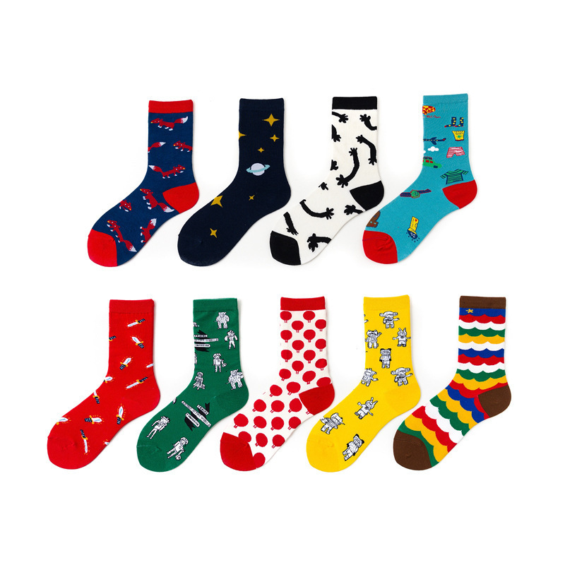 Men Happy Socks Funny Cartoon Robot Harajuku Unisex Skateboarding Sox Personal Casual Combed Cotton Long Socks For Men Original