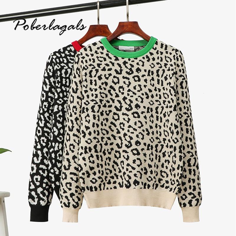 Jumper Autumn Winter Knitted Sweater Women 2019 Korean Oversized Sweaters Female Leopard Jacquard Fashion Wool Blends Pullover