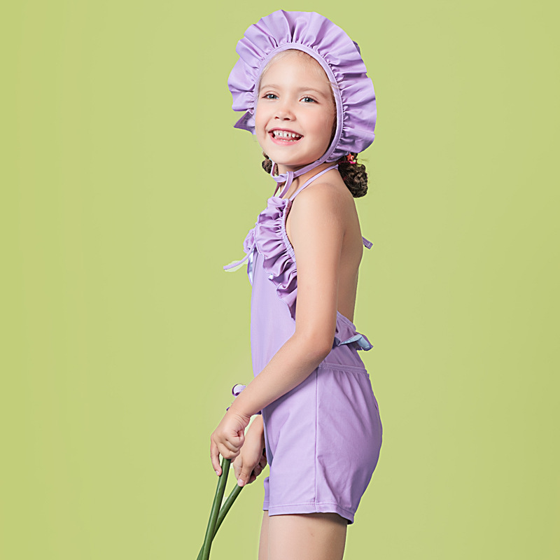 2019 Girls Baby Girls Super Cute Bubble Hot Spring Siamese Swimsuit Polka Dot With Swim Cap Swimwear Olive Flower 2021