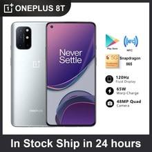 Novo oneplus 8 t 8 t 5g global rom smartphone 120hz fluido amoled display snapdragon 865 65w urdidura carga um mais 8 t telefone móvel